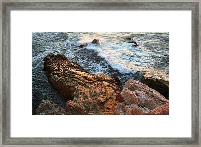 Framed Print featuring the photograph Rocky Coast In Warm Sun by Michael Rock