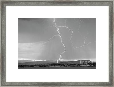 Rocky Mountain Front Range Foothills Lightning Strikes 1 Bw Framed Print