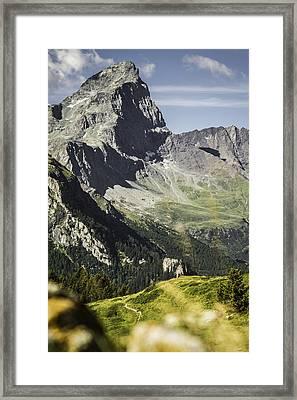 Rocky Mountains Over Grassy Landscape Framed Print