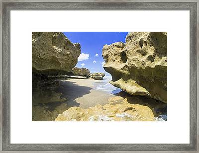 Rocky Shore At Low Tide Framed Print by Patrick M Lynch
