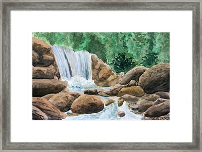 Rocky Waterfalls Framed Print by Anthony Nold