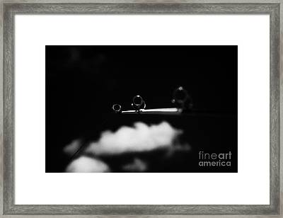 Rod And Line Fishing Against Sky Framed Print by Joe Fox