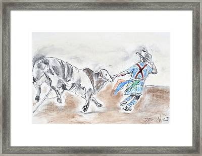 Framed Print featuring the drawing Rodeo Bullfighter by Jim  Arnold