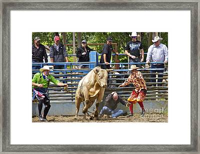 Rodeo Clowns To The Rescue Framed Print by Sean Griffin