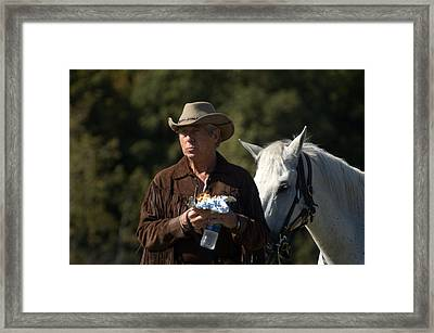 Rodeo Doc And His Horse Framed Print by Cheryl Cencich