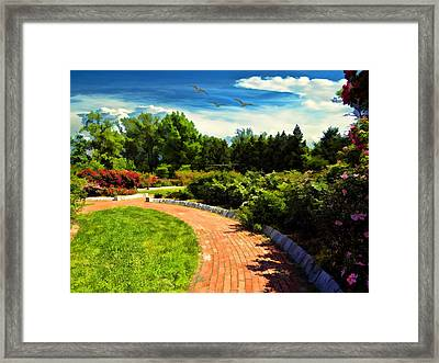 Roger William's Japanese Garden Framed Print by Lourry Legarde