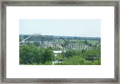 Roller Coaster Skyline Framed Print by Kelly Schwartz