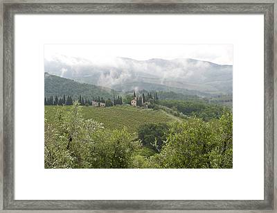 Rolling Green Hills, Wine And Olive Framed Print by Keenpress
