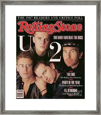 Rolling Stone Cover - Volume #521 - 3/10/1988 - U2 Framed Print