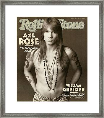 Rolling Stone Cover - Volume #627 - 4/2/1992 - Axl Rose Framed Print by Herb Ritts