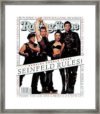 Rolling Stone Cover - Volume #660 - 7/8/1993 - Cast Of Seinfeld Framed Print