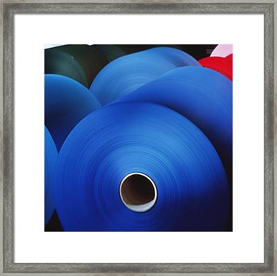 Rolls Of Coloured Paper At A Paper Mill Framed Print