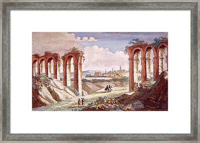 Roman Aquaduct In France, C. 1835 Framed Print by Everett