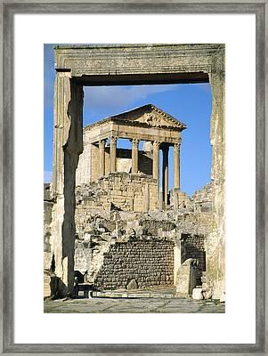 Roman Capitol At Dougga, Tunisia Framed Print by Sheila Terry