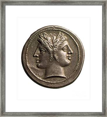 Roman Coin Featuring Janus Framed Print by Photo Researchers