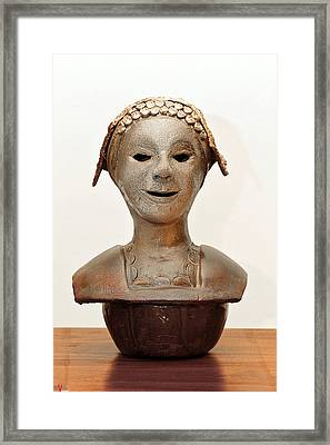 Roman Mask Torso Lady With Head Cover Face Eyes Large Nose Mouth Shoulders Framed Print by Rachel Hershkovitz