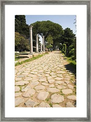 Roman Road, Ostia Antica Framed Print by Sheila Terry