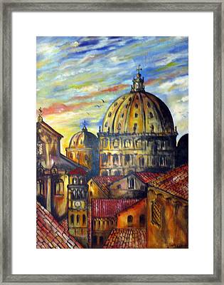 Framed Print featuring the painting Roman Roofs by Roberto Gagliardi