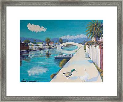Romance On Retro Canal Framed Print