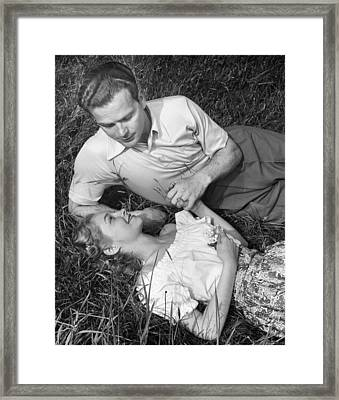 Romantic Couple In Meadow Framed Print by George Marks