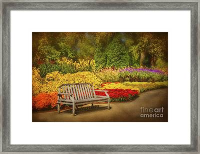 Romantic Flower Garden  Framed Print by Cheryl Davis