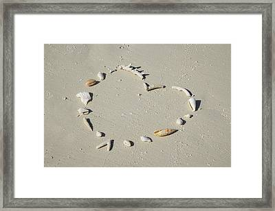 Romantic Message On Beach In Coral And Shells. Framed Print by Rosemary Calvert
