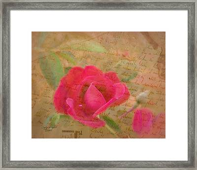 Romantic Rose Notes Framed Print by Cindy Wright