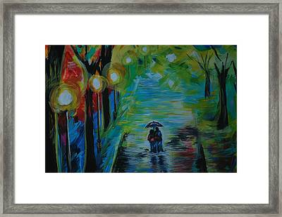 Framed Print featuring the painting Romantic Stroll Series 1 by Leslie Allen