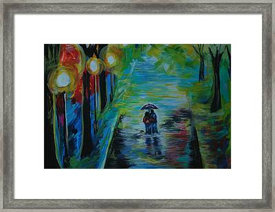 Framed Print featuring the painting Romantic Stroll Series II by Leslie Allen