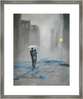 Romantic Walk In The Rain Framed Print