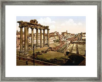 Rome, Ruins Of The Temple Of Saturn Framed Print by Everett