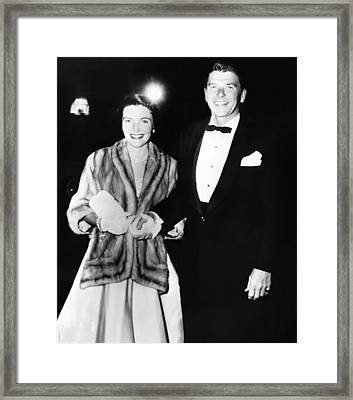 Ronald And Nancy Reagan Attended Framed Print by Everett