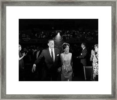 Ronald Reagan, Nancy Reagan Arrive Framed Print by Everett