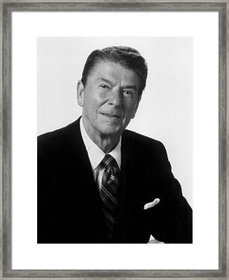 Ronald Reagan, Portrait As President Framed Print by Everett