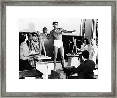Ronald Reagan Posing For A Sculpture Framed Print by Everett
