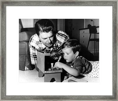 Ronald Reagan, With Son Ronald Framed Print