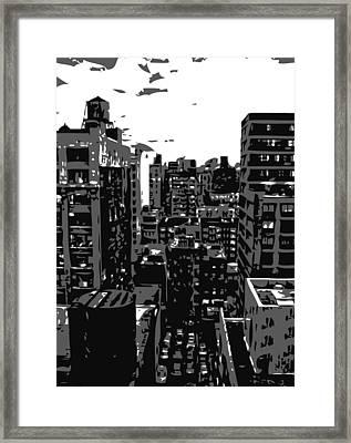 Rooftop Bw3 Framed Print