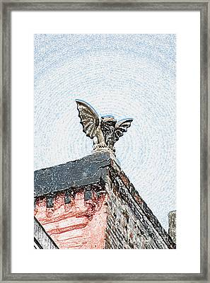 Rooftop Chained Gargoyle Statue Above French Quarter New Orleans Colored Pencil Digital Art Framed Print