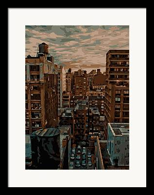 Rooftop View In New York Framed Prints