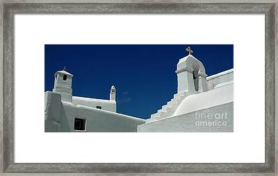 Framed Print featuring the photograph Rooftops Of Mykonos by Vivian Christopher