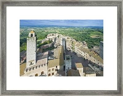 Rooftops Of San Gimignano Framed Print by Rob Tilley