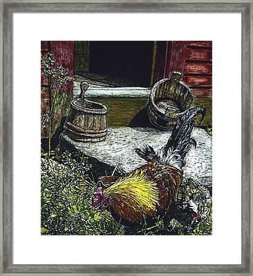 Rooster And A Hen Framed Print by Robert Goudreau