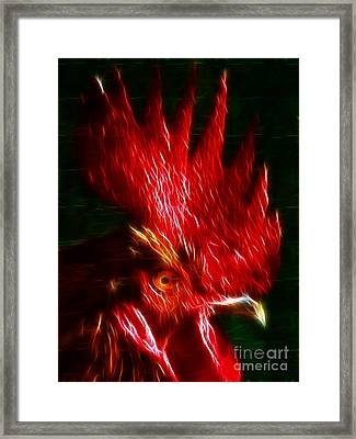 Rooster - Electric Framed Print by Wingsdomain Art and Photography