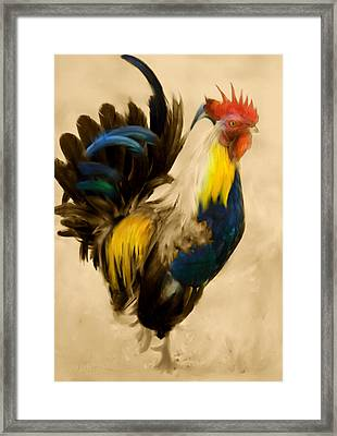 Rooster On The Prowl 2 - Vintage Tonal Framed Print by Georgiana Romanovna