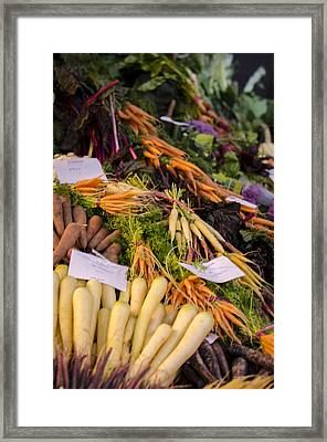 Root Vegetables At The Market Framed Print by Heather Applegate
