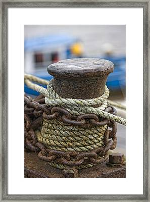 Rope And Chain On Post Framed Print
