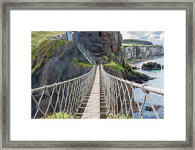 Rope Bridge At Carrick-a-rede In Northern Island Framed Print