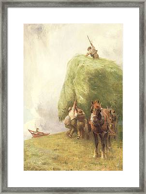 Roping The Wagon Framed Print by Henry H Sands