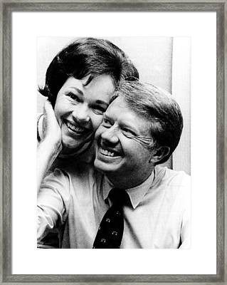 Rosalynn Carter And Jimmy Carter Watch Framed Print by Everett