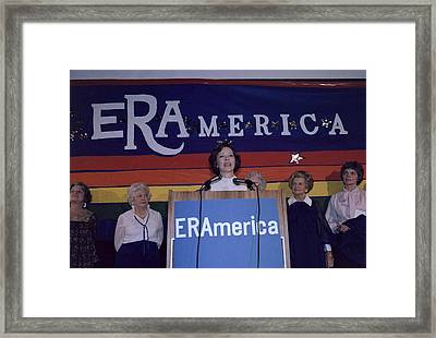Rosalynn Carter Speaking In Support Framed Print by Everett